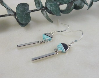 Color Collection. Silver and Mint Green Geometric Earrings. stick earrings. silver earrings. dangle earrings. drop earrings. modern earrings