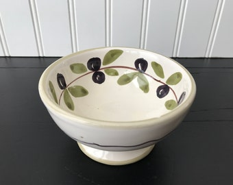 Olive Oil Dipping Bowl, Williams Sonoma Italian Stoneware, Small Olive Dips and Condiment Serving Bowl, Olive Snack Bowl, Handmade in Italy