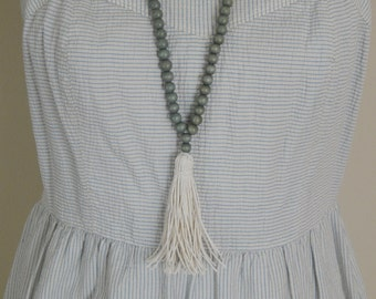 SALE Long bead necklace with gray wood beads and cotton hemp tassel, bohemian style, beach boho, summer, wood beads, layering, neutral
