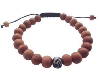Wood Bead Tibetan Wrist Mala Bracelet with Om Mani Carved Bone Spacer for Meditation