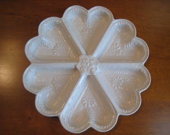 Vintage Victorian Ornate Ceramic Ivory Heart Shaped Sectional Dish