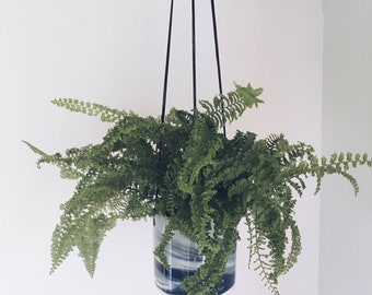 HANGING PLANTER Blue Marbled. Ceramic/pottery flower/plant pot
