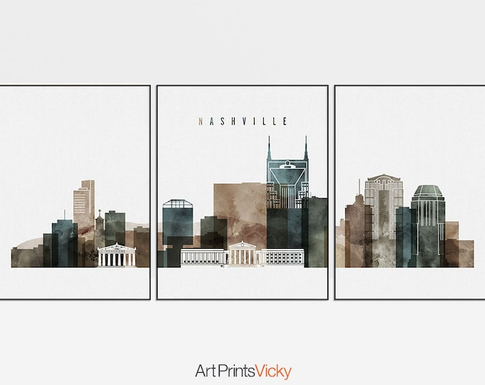 Nashville print, Nashville 3 poster set, Wall art, large wall art, 3 pieces of Nashville print, Travel poster, home decor, ArtPrintsVicky