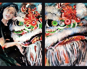 Diptych No.24, Lion Tamer, original Japanese watercolor and sumi-ink