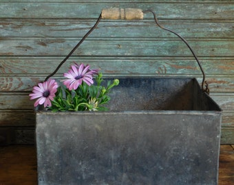Vintage Galvanized Metal Box Tote with Wood Handle, Industrial Box, Flower Planter