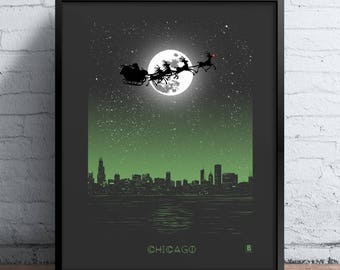 Chicago Holiday Moon Print