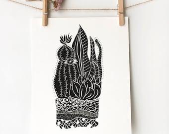 Cactus Wall Art, Botanical Illustration Prints, Cactus Print, Boho Apartment, 8x10 Wall Art, Modern Art Prints, Terrarium 1