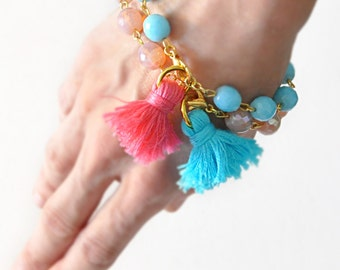 Pink Blush and Turquoise Tassel Bracelets - Set of 2 - Choose your tassel - Free Shipping - Gift Box