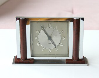 Antique French Jaz alarm clock Art deco desk clock Collectible Vintage metal clock Mid century table clock Wind up clock industrial decor