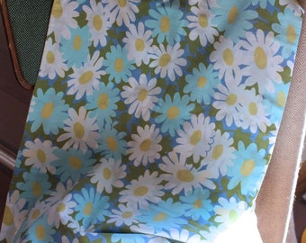 Vintage blue daisy bolster pillow cover