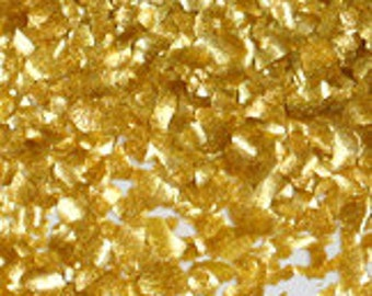 Metallic Gold Edible Glitter - metallic gold flake shimmer sprinkles for cupcakes, cookies, cakes