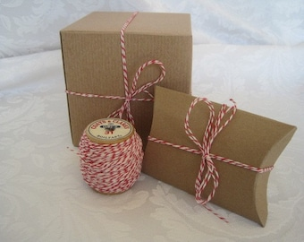 50 Yards Red Twine, Cotton Twine, Bakers Twine, Red String, Colored String, Box Twine, Gift Wrapping, Gift Wrap, Red & White, on Wood Spool