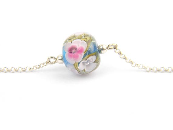 Art Glass Fine Bracelet - Cherry Blossom Art Glass Bead Sterling Silver Fine Bracelet - Classic Collection