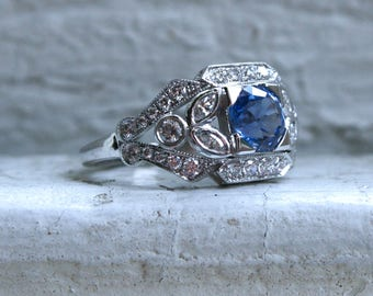 Sapphire Floral Diamond Ring Engagement Ring Wedding Ring in 14K White Gold.