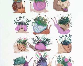 All My Friends are Snails Print - Home Art Print Illustration