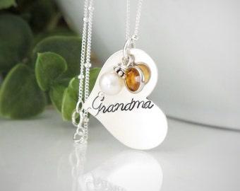 Silver Grandma Necklace - Personalized Grandma Heart Necklace - Birthstone Necklace for Grandma - Mimi Necklace - Gift for Grandma