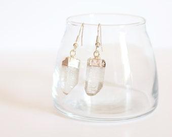 Boho Crystal Stone Earrings / Silver Dangle Earrings / Yoga Jewelry Gift / Simple Everyday Earrings / Sterling Silver Boho Jewelry