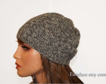 Gray Wthite Beanie Hat For Men Flat Knit Simple folder hat Winter Knit Hat
