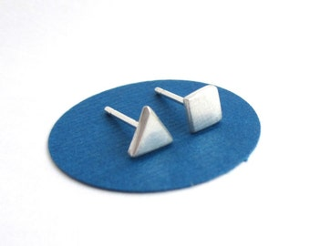 Mismatched Earrings, Square and Triangle Stud Earrings