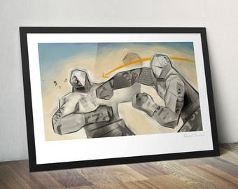 Paper Giants. Original illustration art poster giclée print signed by Paweł Jońca.