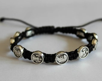 Virgin Mary Our Lady and Jesus Divine Mercy Medal Beads on Cord Bracelet