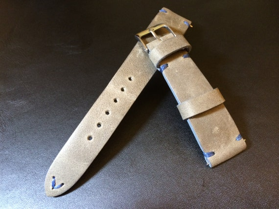 Vintage Real Leather Strap for    Leather watch band   Vintage watch strap   19mm, 20mm watch strap   Grey Leather strap for IWC, Tudor