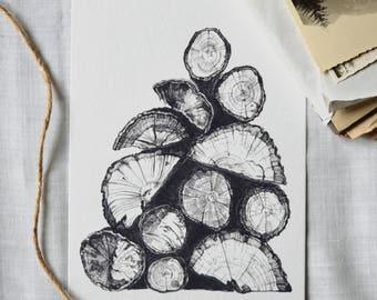 Wooden Logs - Digital Art Print. Ink illustration from the Inktober series.