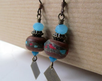 Turquoise Blue with Red Mosaic Beaded Niobium Earrings - Southwest Desert with a Twist