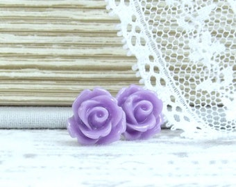 Purple Rose Stud Earrings Purple Flower Earrings Purple Rose Studs Surgical Steel Studs Purple Rose Earrings
