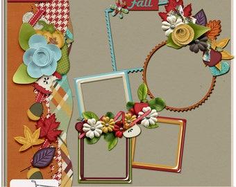 Fall Pickings Harvest Apple Digital Scrapbook Cluster Frames and Border