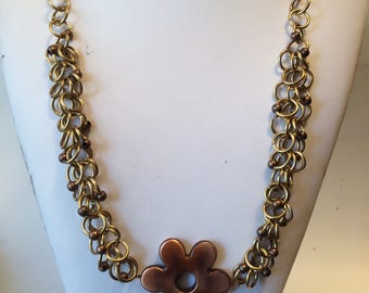 Bronze Flower chain Necklace