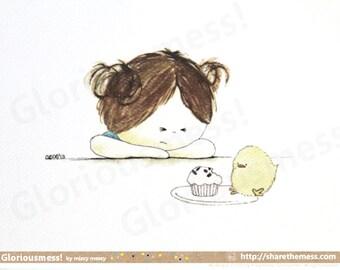 "Whimsical Cupcake A5 Art Print - ""Hmph"" Says Little Girl CurlieQ - Cute Children's Illustration"