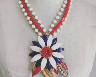 Floral Statement Necklace, 4th of July Necklace, Red White & Blue Necklace, Vintage Assemblage