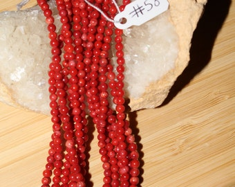 "15"" Strand of 3mm Smooth Round Red Bamboo Coral Beads #58"
