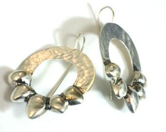 Unusual Dangle Earrings, Earrings Silver Dangle, Earrings Dangle Silver, Large Hammered Gangles,  Hammered Silver Earrings, Large Drops.