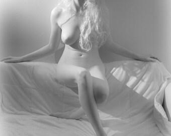 Artistic nude high key bw female blonde model in infrared fine art photo print wall art home decor - Silver Softness - 05