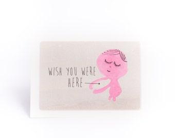 Wish you were here hug card