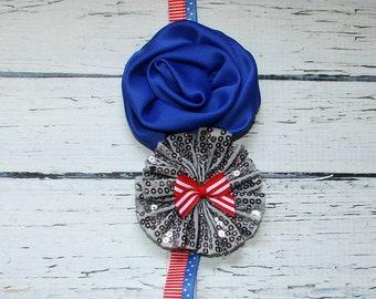 4th of July Headband, Flower Headband, Baby Headband, Adult Headband, 4th Baby, Military Homecoming, Sequin Heaband, Patriotic Headband
