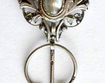 19th Century Gaelic Silver & Gold Pin