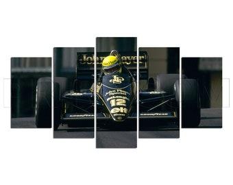 Ayrton Senna Lotus 1991 Formula 1 Auto Racing F1 Canvas Print Gift 5 Panels