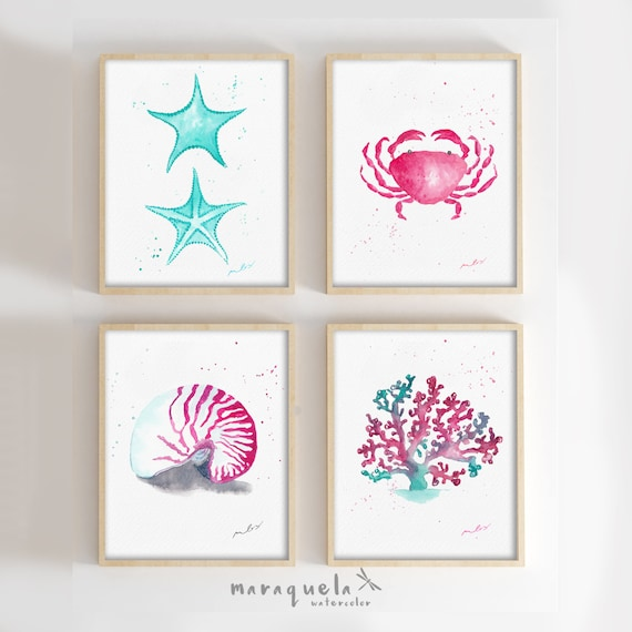 DISCOUNT SET - Seashell , Crab, Alga and Starfish ILLUSTRATION in Watercolor. Blue and Dark Pink