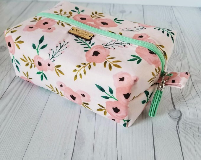 Featured listing image: Floral, Cosmetic Bag, Makeup Bag, Pink, Makeup Case, Toiletry Bag, Toiletry Tote Bag, Toiletry Bag for Women, Toiletry Travel Bag, Large Bag