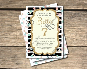 Confetti Glitter Glam Birthday Invitation - 5x7
