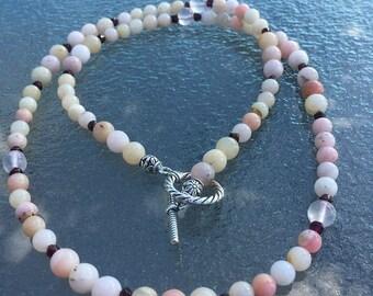 Long, Opal Garnet, and Rose Quartz Necklace