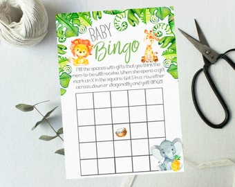 Baby Shower Bingo Card( Instant Download) Printable Shower Games 5x7 Baby Boy Jungle Elephant Watercolor lion giraffee  #1066