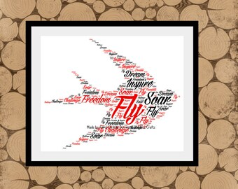 Swallow Print, Swallow Word Art, Personalised Bird Print, Bird Word Art, Word Art,  Bird Word Collage, Swallow Word Cloud.