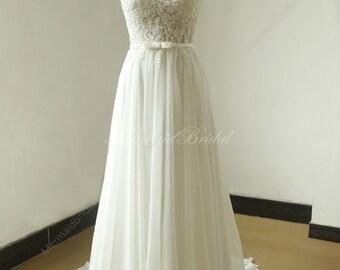 Ivory A line chiffon lace see thru wedding dress with elegant beading work