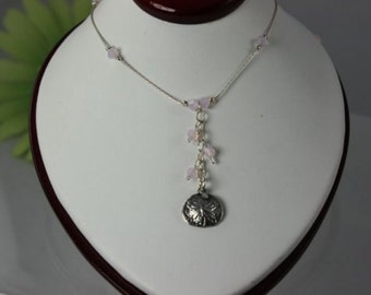 SALE Sand Dollar Necklace, Pink Opal Sand Dollar Necklace, Crystal Sand Dollar Necklace, Silver Necklace