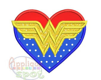 Wonder Woman heart Supergirl - 4x4 5x7 6x10  Applique Design Embroidery Machine -Instant Download File
