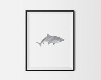 Geometric Art Print, Nursery Art, Baby Room Art, Shark Art Print, Minimal Art Print